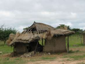 Huts ruined by the rains