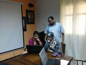 Fatima and local teachers preparing the curriculum