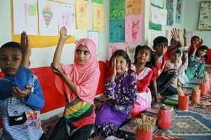 Children learning in a BRAC pre-primary school