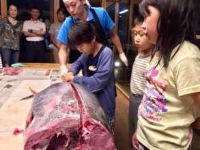 Cutting big tuna for anniversary dinner