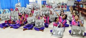 Primary school children happy with their gifts