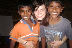 Thalia with students