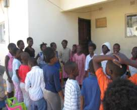 Children participating in a group discussion