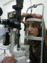 Yasmin being examined