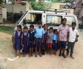Children come to school by van