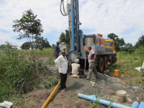 Jinja water well being drilled in May