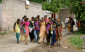Adolescent girls on their way to attend LSE class