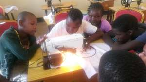 Learning to use the sewing machines