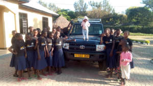 Girls and Salama with new car