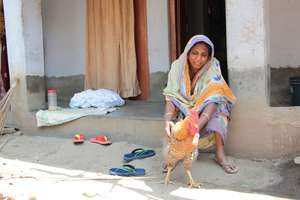 Shivia poultry farmer with one of her hens
