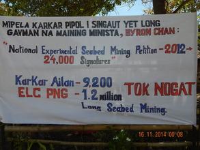Karkar Islanders' protest banner.JPG