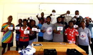 UOG NGI students with BAN seabed mining stickers