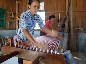 Two women weaving