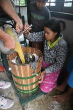 Mango-lime gelato going into new ice cream maker