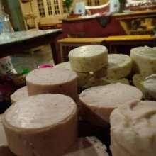 Handmade 100% natural soaps made here at cafe!