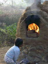 Bread making in mud oven