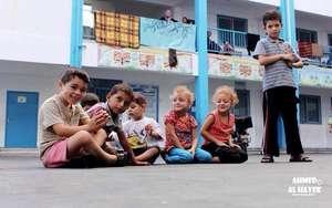 Children taking shelter in UNRWA School in Gaza.