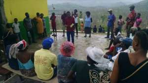 Youth Leader providing training in his village