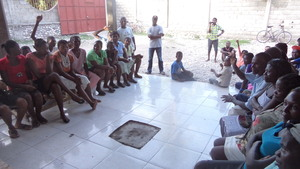 Our Garden Haiti meeting with children and parents