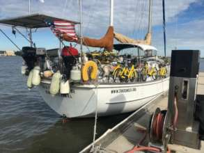Backpacks and bicycles arrive by sailboat!