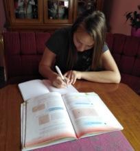 Djurdjina doing her homework