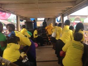 HFAW women in truck passing antiFGM messages