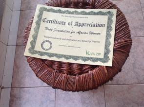 Kivazip certificate of appreciation of HFAW