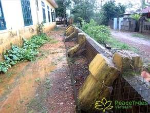 Kindergarten fence demolished by a storm