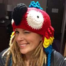Brooke Durham and her fancy parrot hat