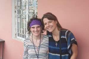 Armine (resident) with Bridget (board member)