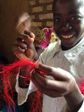 A young man trained to sew by Unite