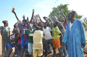 Community members celebrating water in Diabel