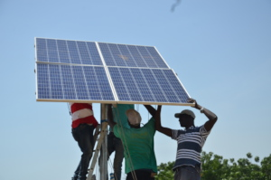 Solar panels being installed in Mbossedji
