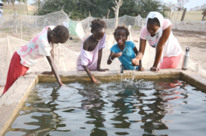 Children drinking water from the basin in Thienaba