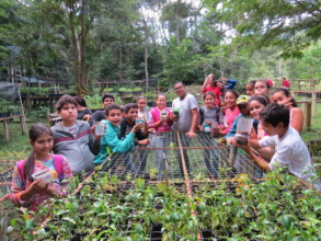 Young EcoLeaders in the nursery of native trees