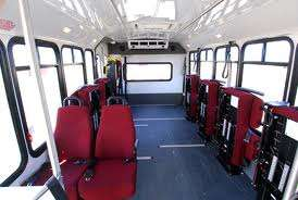 Internal insight of a wheelchair accessible bus