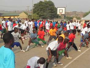 Kids warming up at the clinic