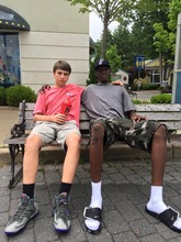Mohammed relaxing with a friend in New York.