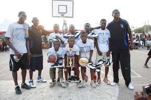 Winning coach with team