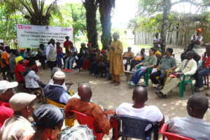 Survivors gather with BRAC staff