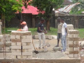 Building of the 2,000 concrete blocks needed
