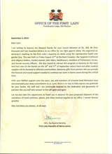Letter of appreciation from Sia Koroma, First Lady