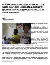 FrontPage Africa Reports on GPFA Anti-Ebola Grants