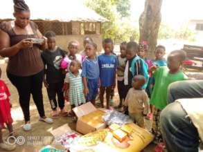Children receiving gifts
