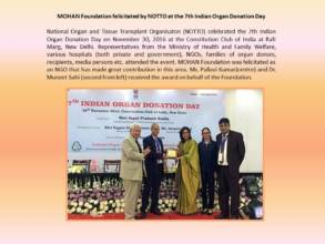 MOHAN Foundation felicitated by NOTTO