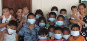 Our children all masked up for protection