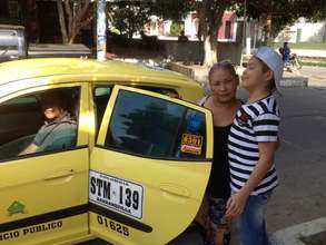 Taking a cab to the hospital