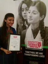 EAG Scholar Samina with her certificate