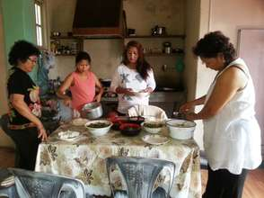 Friends and supporters help prepare food