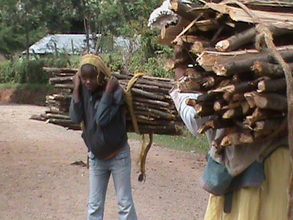 School age kids collecting wood from the forest.